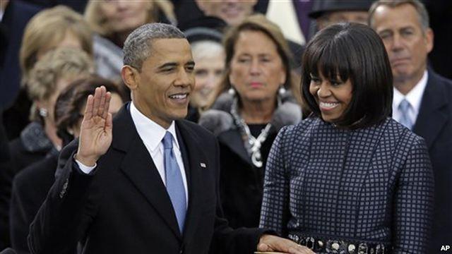 美國總統歐巴馬宣誓就職。 (AP)