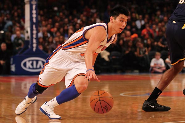 Jeremy Lin #17 of the New York Knicks dribbles the ball against the Indiana Pacers during their game at Madison Square Garden on March 16, 2012 in New...