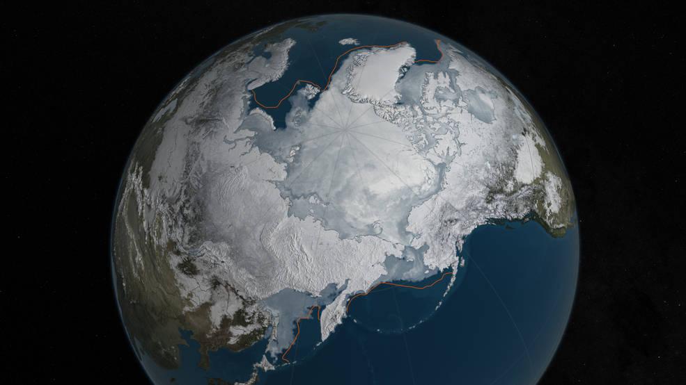 圖為冬天的北極。(圖片轉載自NASA網頁。)
