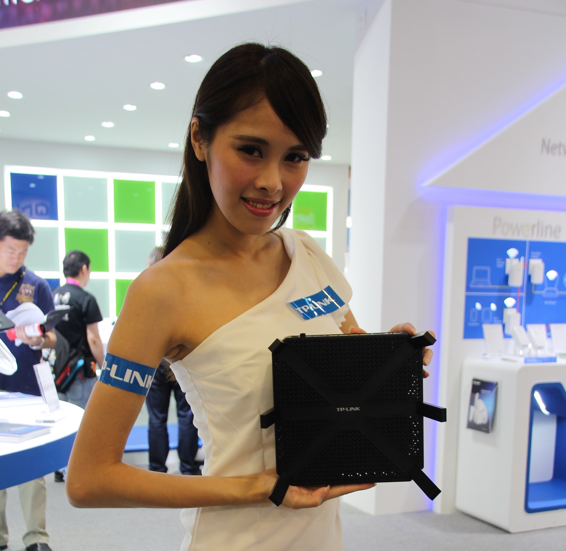 TP-LINK shows off its Archer C3200 tri-band router during Computex Taipei on Thursday.
