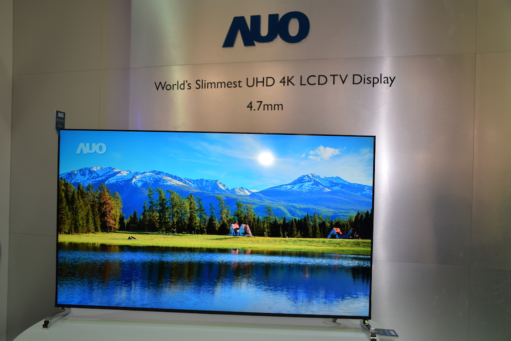 AUO shows off world's thinnest UHD 4K LCD TV at Touch Taiwan 2015 on Thursday.
