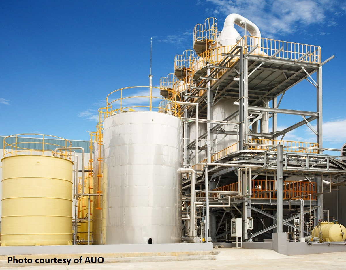 The evaporator (EVP) used in the process water full-recycling system at AUO's Lungtan site.