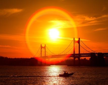 韓國廣安大橋落日
