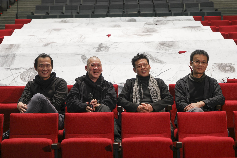 「玄奘」雲門綠劇場記者會 左起鄭宗龍、蔡明亮、李康生、高俊宏。
