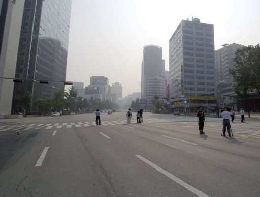 This file photo shows a street in central Seoul. Two sections of road in the South Korean capital are to be repaved after they were found to be radioa...