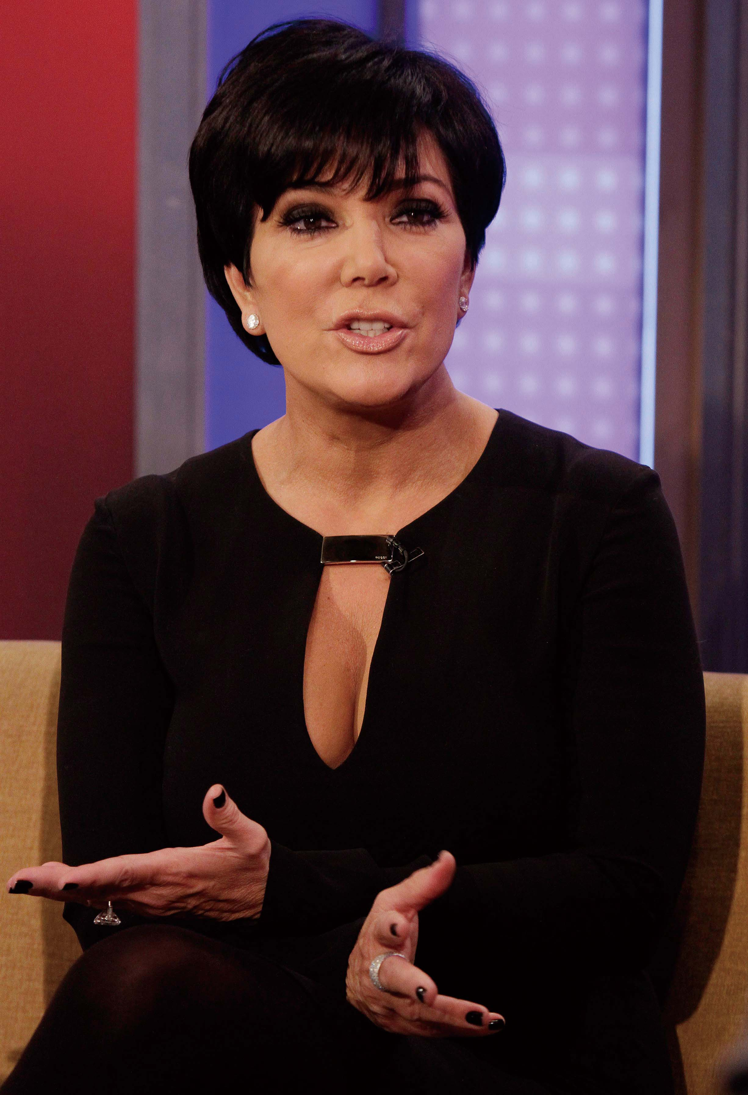 """Kris Jenner, mother of TV personality Kim Kardashian, is interviewed on the """"Fox & friends"""" television program in New York Thursday, Nov. 3, 2011. (As..."""