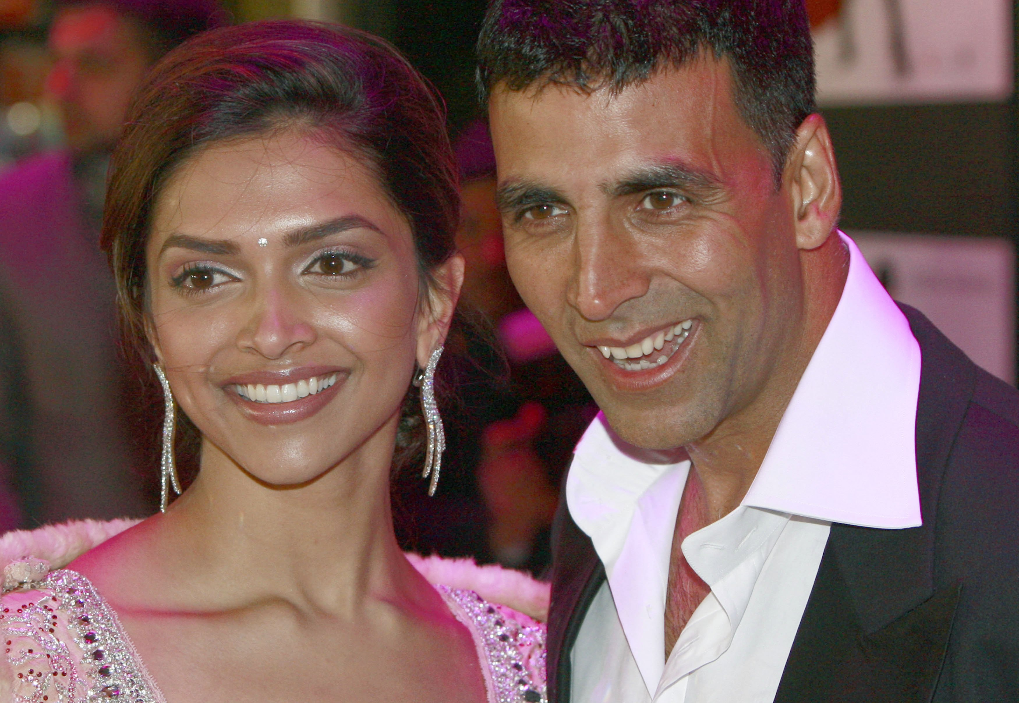 Bollywood actors Deepika Padukone, left, and Akshay Kumar arrive for the European premiere of 釢handni Chowk to China' in Leicester Square, central L...