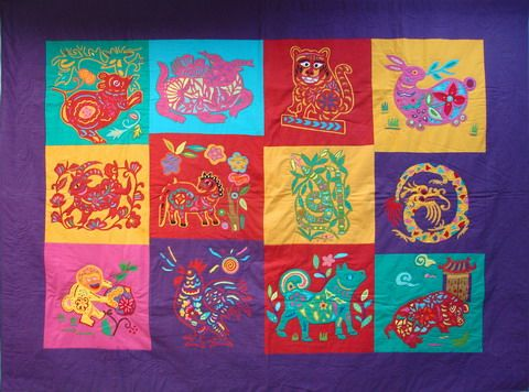 In this file photo, the 12 signs of the Chinese zodiac are displayed on a quilt.