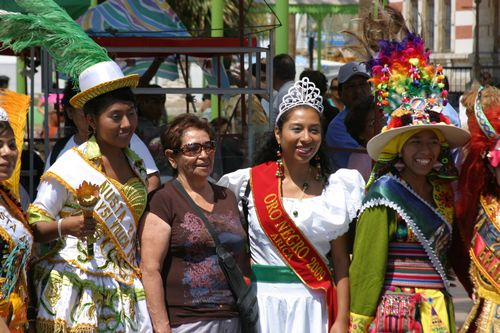Queens and princesses of the parade pose for pictures in Arica, Chile.