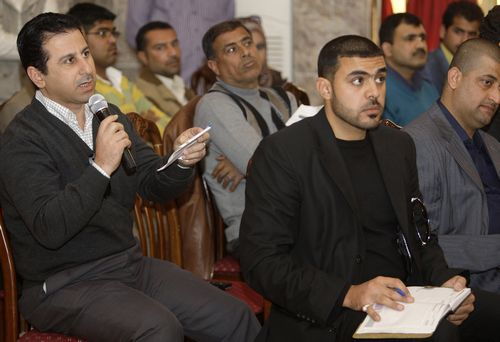 Journalists attend a news conference in Baghdad, Iraq on Feb. 23.