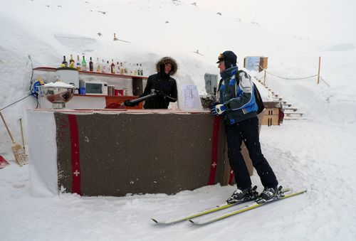 The outside bar at the Igloo Village in Zermatt.