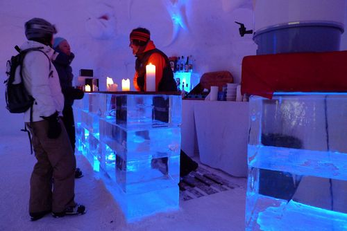 The inside bar at the Igloo Village hotel.