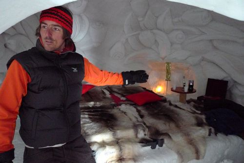 Reto Gilli, manager of the Igloo Village hotel, gives a tour in Zermatt.