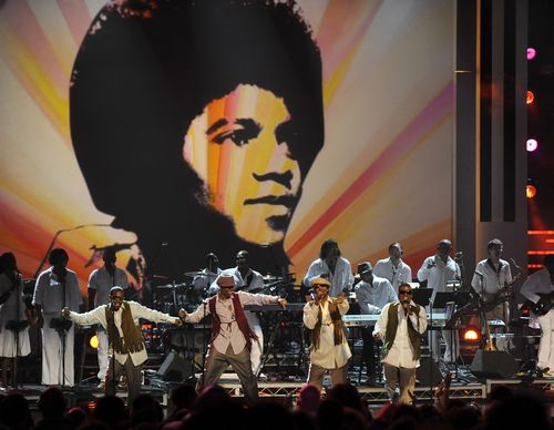 New Edition performs a tribute to Michael Jackson at the start of the 9th Annual BET Awards on Sunday in Los Angeles, California.