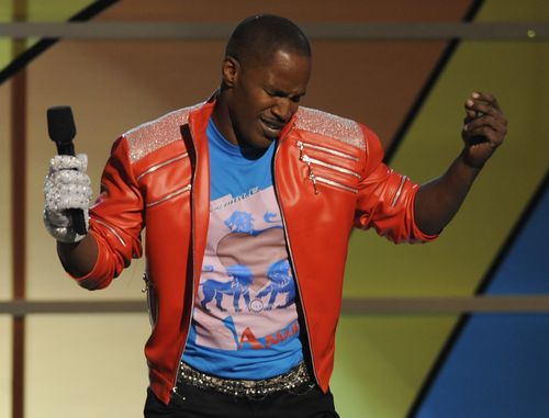 Host Jamie Foxx performs a tribute in honor of Michael Jackson as he hosts the 9th Annual BET Awards on Sunday in Los Angeles, California.
