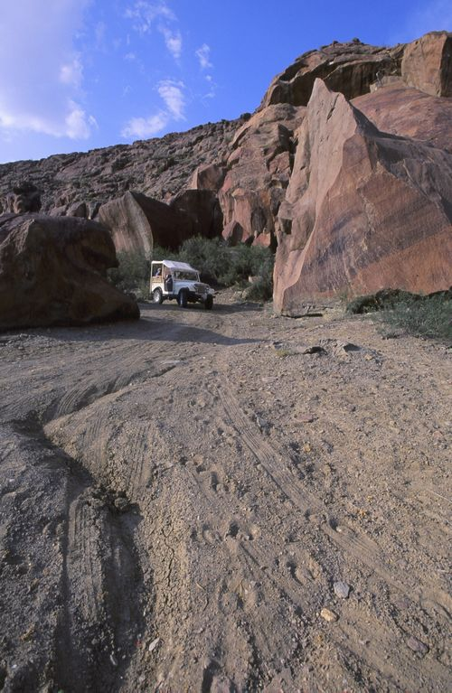 American Institute in Taiwan Jeep and boulders