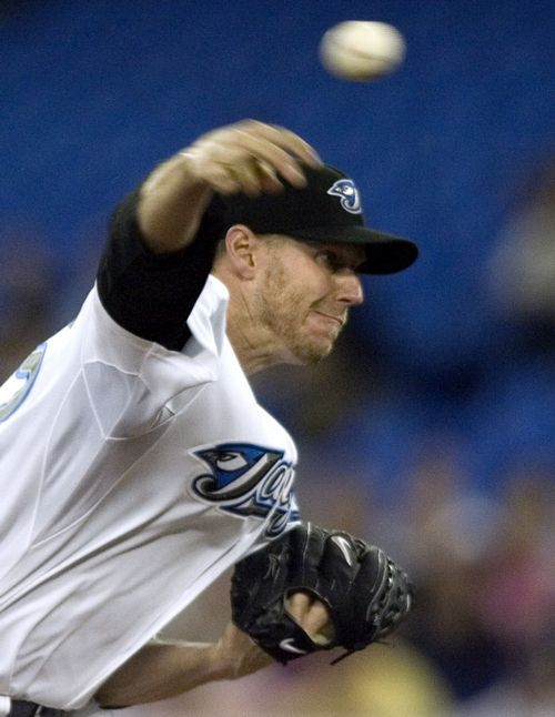 Toronto Blue Jays pitcher Roy Halladay pitches against the Tampa Bay Rays during the first inning of a baseball game in Toronto, Canada on Monday.