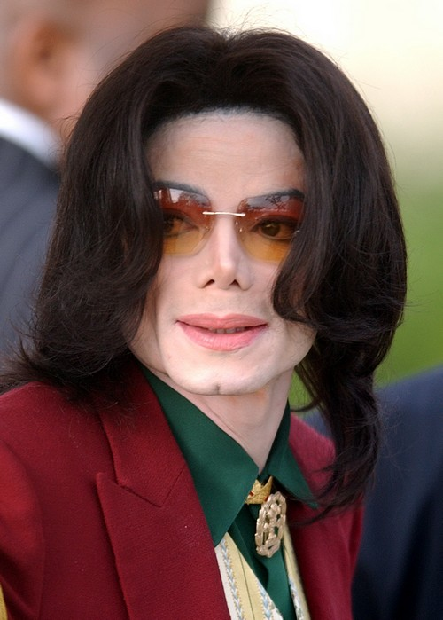 In this 2005 file photo, pop star Michael Jackson arrives at the Santa Barbara County Courthouse in Santa Maria, California.