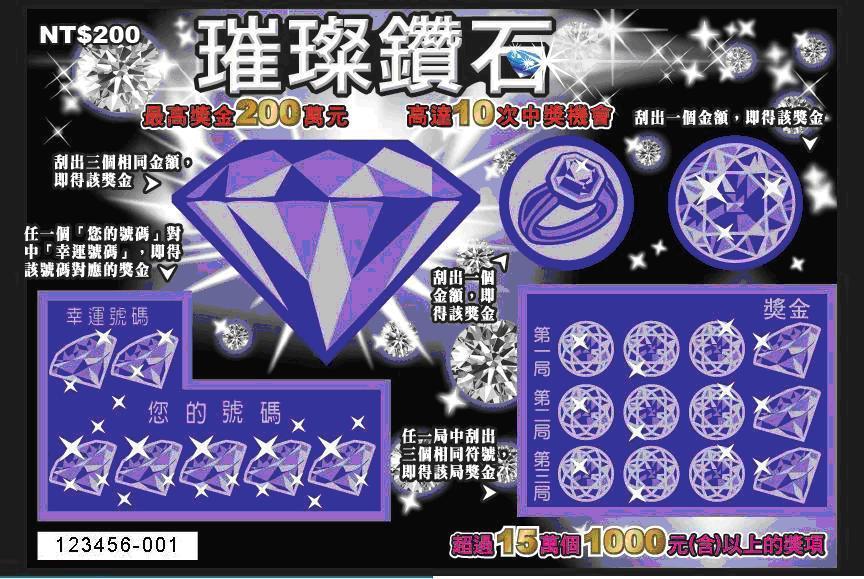 台灣彩券公司將於3月3日推出四款新產品,圖為「璀璨鑽石」票面設計,售價200元,提供3個200萬元頭獎獎金。