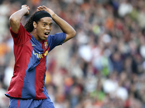 FC Barcelona player Ronaldinho, from Brazil, reacts against Levante during his Spanish League soccer match in Barcelona, Spain on Sunday.