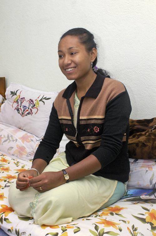 Nepal's former living goddess Rasmila Shakya, 25, smiles during an interview in Katmandu, Nepal, on October 3.