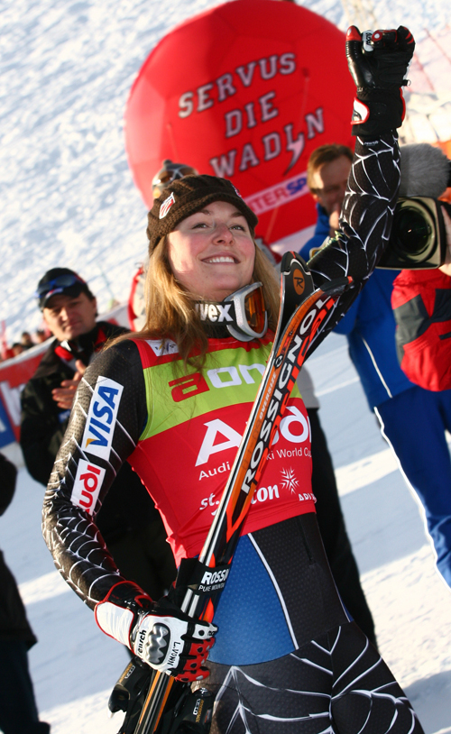 Lindsey Vonn, of the United States, celebrates after winning a women's World Cup Super-combined race, in St. Anton, Austria on Saturday.