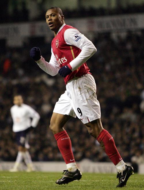Arsenal's Julio Baptista celebrates his first goal against Spurs at Tottenham's White Hart Lane Stadium, in London, England on Wednesday.