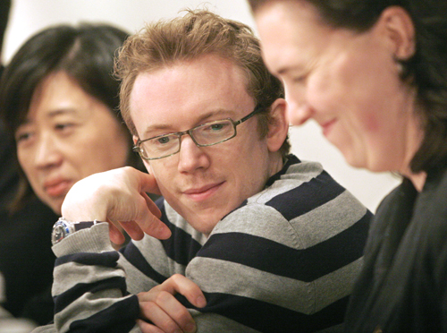 Principal Guest Conductor of the London Symphony Orchestra, Daniel Harding, attends a press conference Saturday to promote upcoming concerts taking pl...