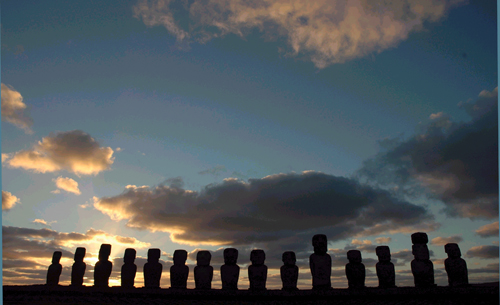 The massive stone sentinels of Ahu Tongariki on Easter Island in Chile.