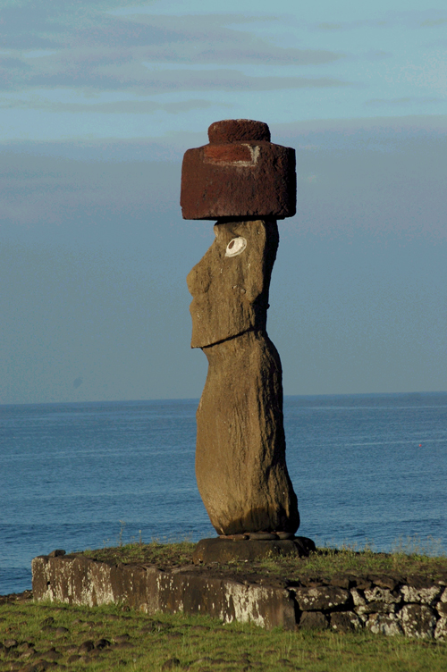 A closeup view of one of the massive stone sentinels of Ahu Tongariki on Easter Island in Chile.