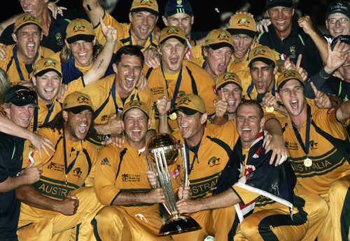 Australia's cricket team celebrates with the trophy after defeating Sri Lanka in the Cricket World Cup final at the Kensington Oval in Bridgetown, Ba...