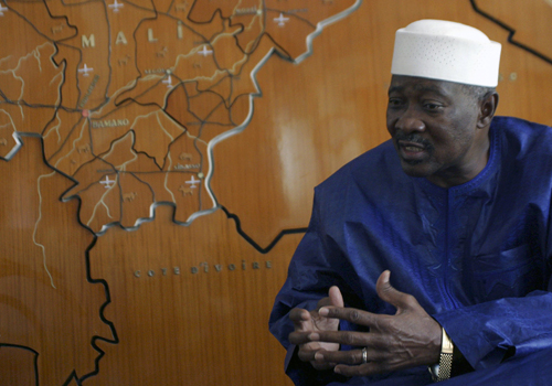 Mali's President Amadou Toumani Toure gestures during an interview with Reuters in Bamako on Saturday.