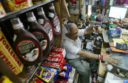 Hershey's chocolate syrup is seen for sale at a grocery store in New Delhi, India last month. America's leading candymaker, The Hershey Co. is seeking...