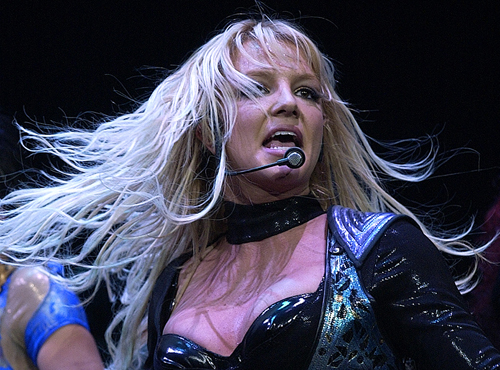 Britney Spears is seen performing in a 2004 concert in this file photo.