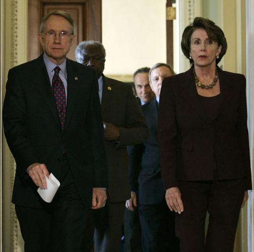 Majority Leader Harry Reid, left, and House Speaker Nancy Pelosi, right