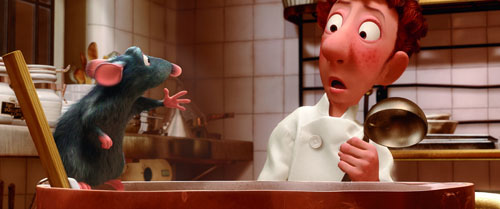 """Remy (voiced by Patton Oswalt), left, teaches Linguini (Lou Romano) how to cook in Pixar's """"Ratatouille."""""""