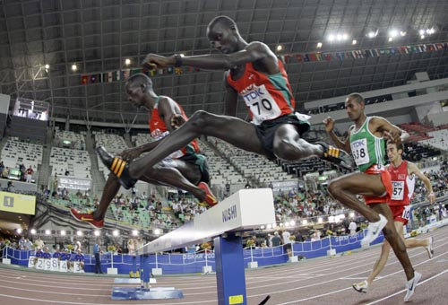 Kenya's Brimin Kiprop Kipruto clears a jump during the final of the men's  3000m steeplechase at the World Athletics Championships in Osaka yesterday....