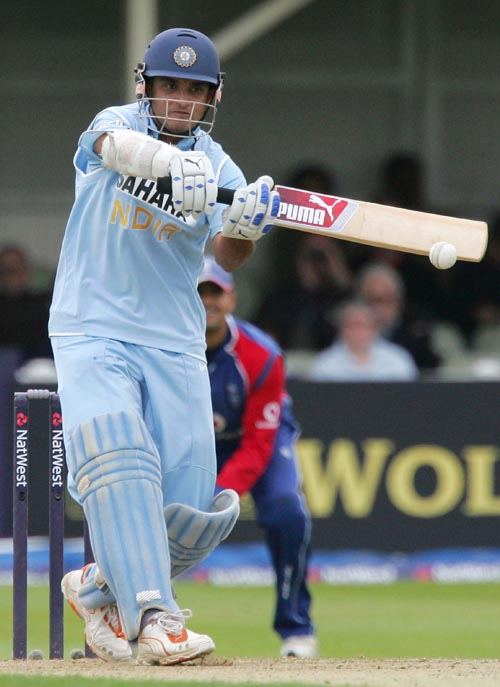 India's Sourav Ganguly plays a shot from the bowling of England's Janes Anderson for four runs during their one day match in Birmingham, England on Mo...