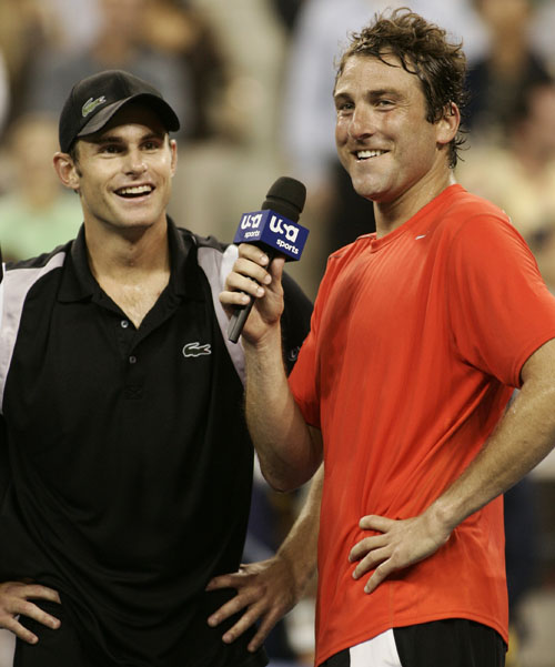 Justin Gimelstob, right, of the United States interviews Andy Roddick of the U.S. after being beaten by Roddick at the US Open in New York on Tuesday....