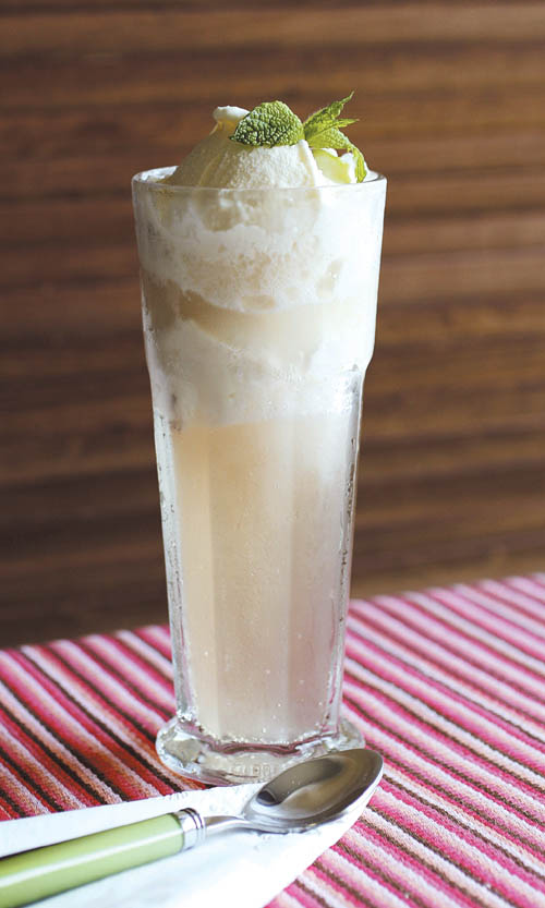 Jamaican style ginger beer with coconut ice cream float