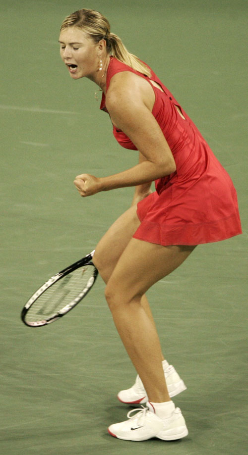 Maria Sharapova of Russia reacts after winning a point in New York, New York on Thursday.