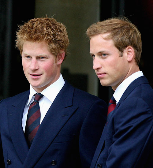 Britain's Princes William, right, and Harry, sons of the late Princess Diana, arrive for the Service of Thanksgiving for the Life of Diana at the Guar...
