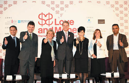 BTCO Director Michael Reilly, center, joins the organizers and sponsors of 'Love & Money: The Best of British Design Now' exhibition in Taipei yesterd...