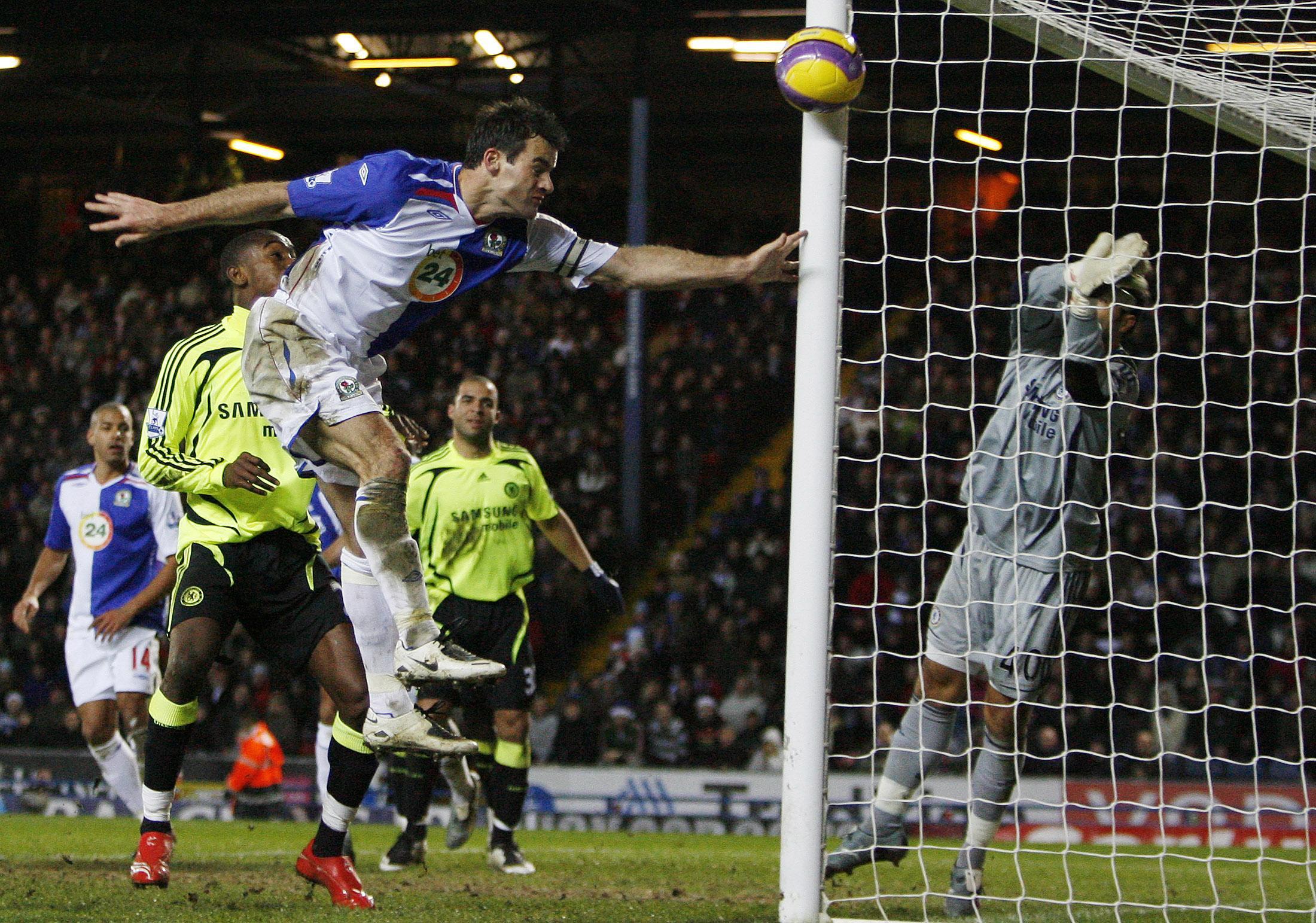 Blackburn Rovers Ryan Nelson heads the ball during their English Premier League soccer match against Chelsea in Blackburn, England on Sunday.