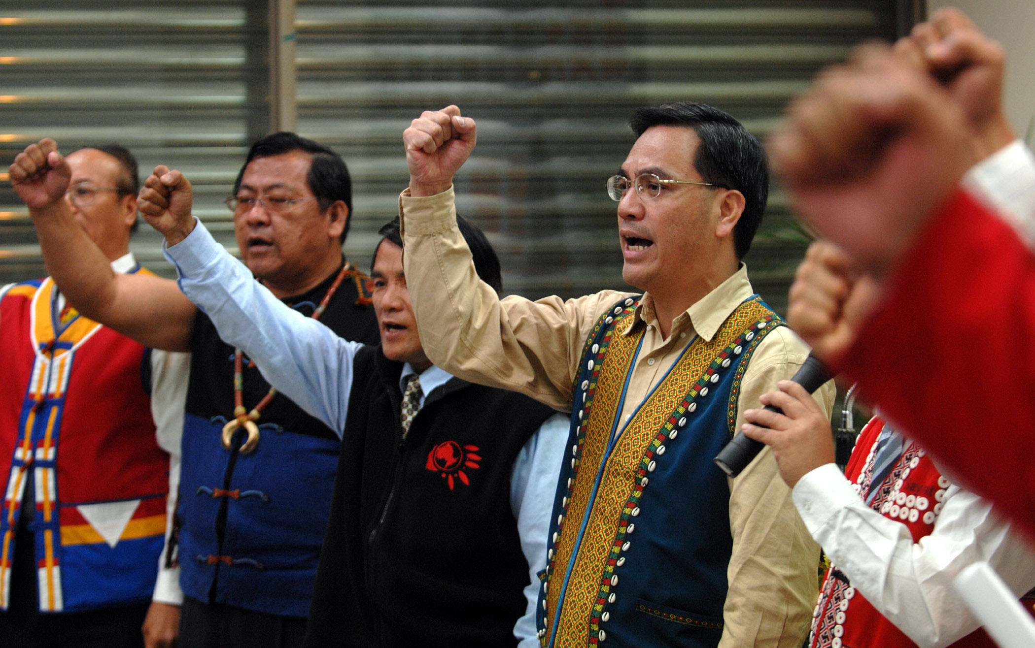 The Council of Indigenous Peoples Minister Icyang Parod, far right, attended the committee review Wednesday to show his support for the Aboriginal lan...