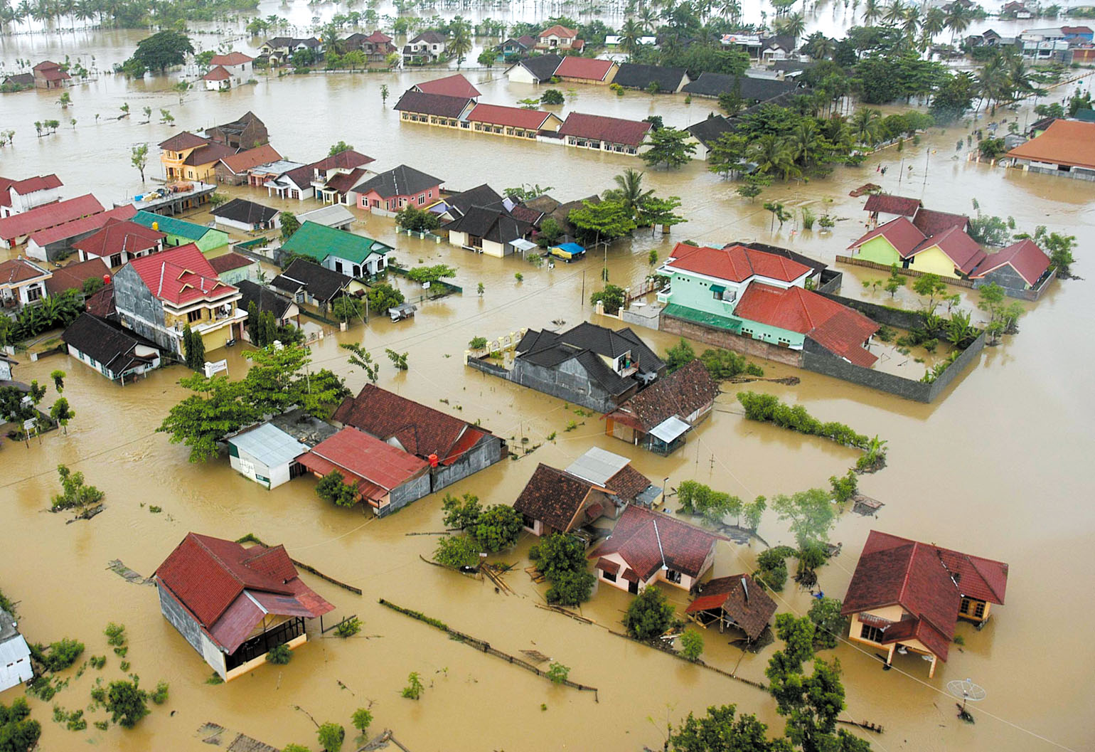 An aerial view of the flood at Taliwang town on Sumbawa island in Indonesia's West Nusa Tenggara province is seen yesterday.