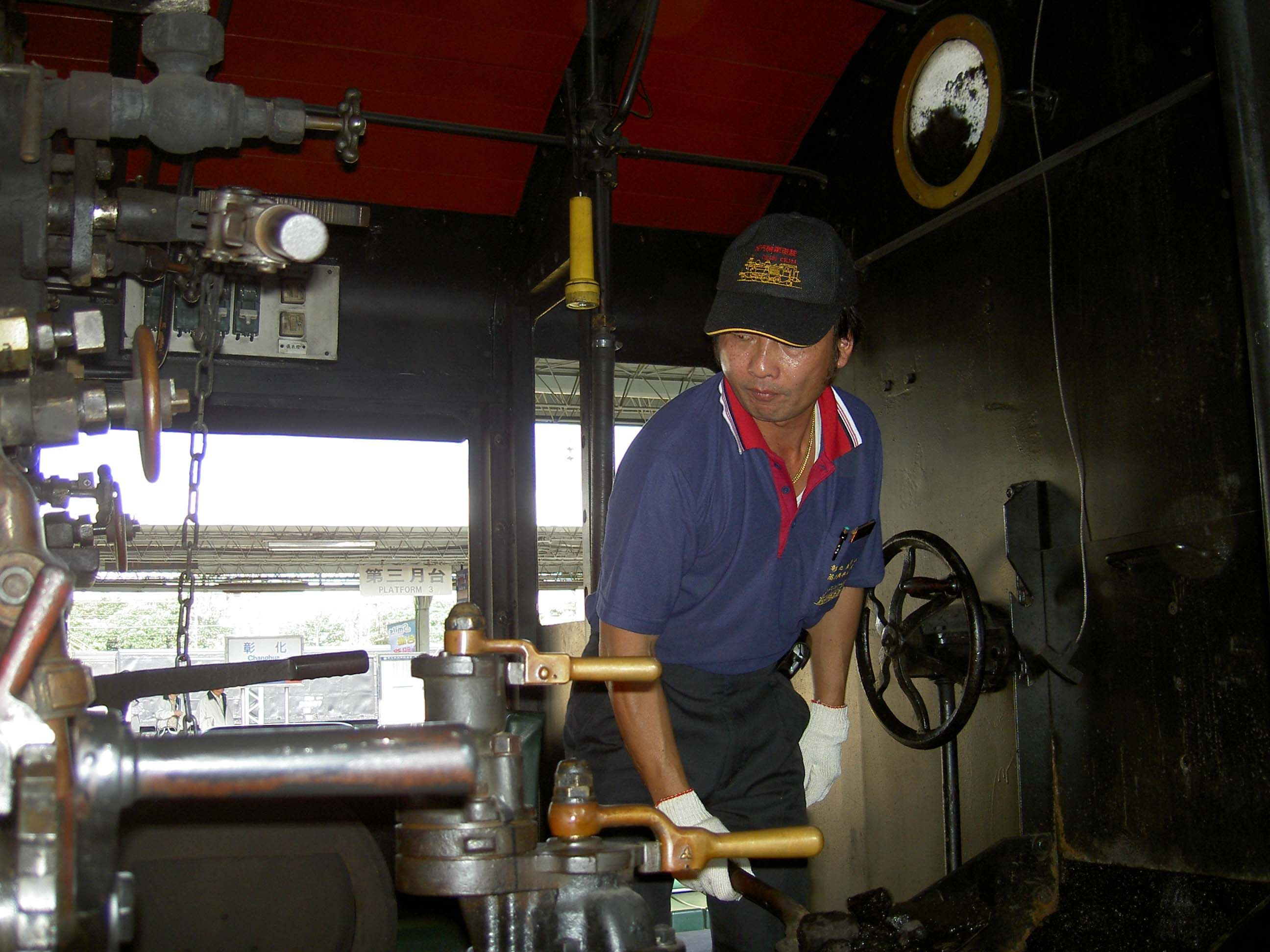The driver's cabin in the steam locomotive engine is an intense working environment, with temperatures reaching up to 50 degrees Celsius.