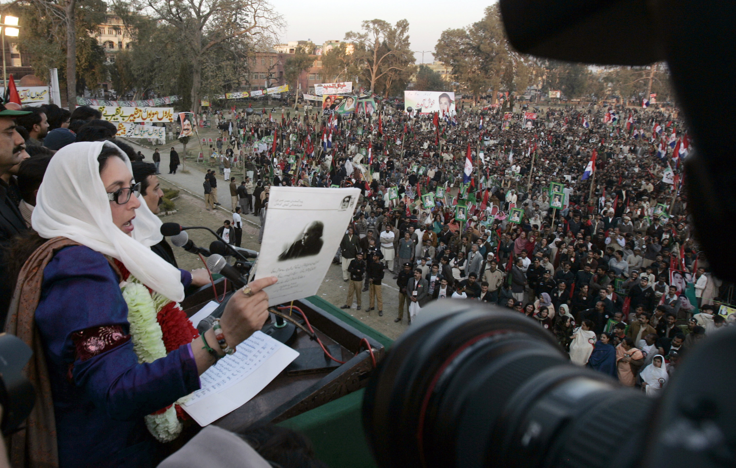 Pakistan's former Prime Minister Benazir Bhutto addresses supporters during her last public rally in Rawalpindi, Pakistan, Thursday. Bhutto was killed...