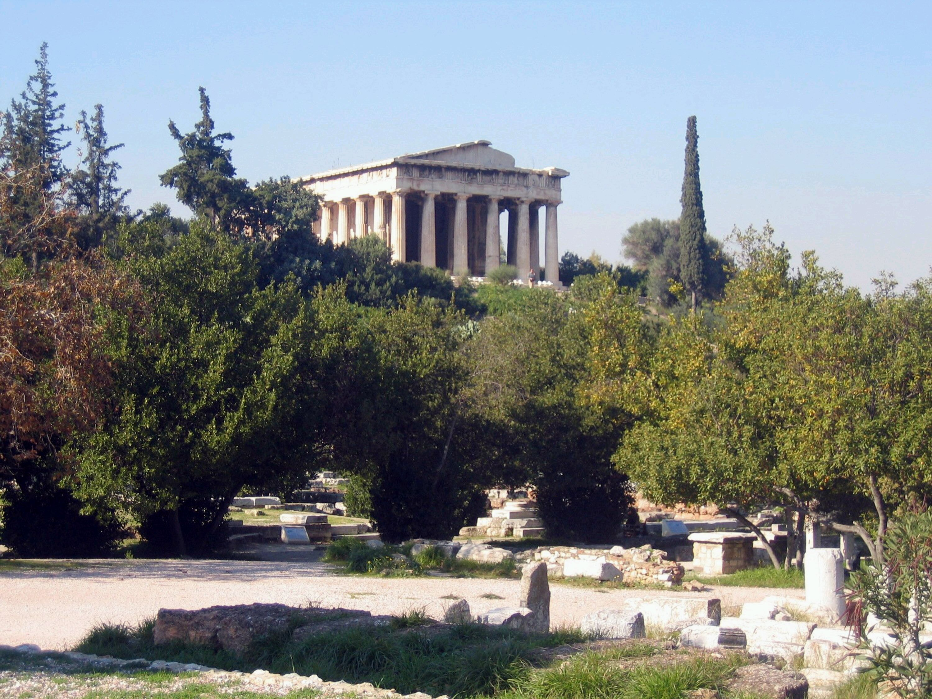 The Temple of Hephaistos looms over the ancient Greek agora, or market, which was the civic, political and commercial center of Athens, Greece.