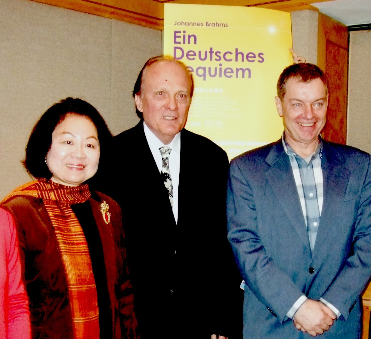 Maestro Zdenek Macal, shown flanked by Tchen Yu-hsiou, board chairman of the National Chiang Kai-shek Cultural Center, and baritone Andreas Scheibner,...